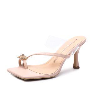 Sexy Transparent Blushing Pink Street Wear Womens Sandals 2020 Rhinestone 8 cm Stiletto Heels Open / Peep Toe Sandals