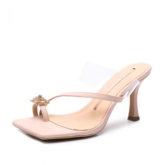 Sexy Transparent Blushing Pink Street Wear Womens Sandals 2020 Rhinestone 8 cm Stiletto Heels Open / Peep Toe Sandals