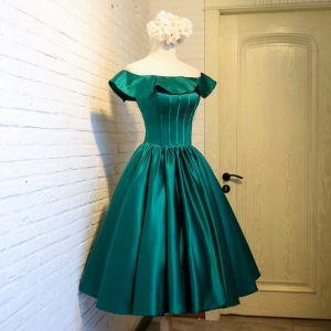 Vintage / Retro Dark Green Homecoming Graduation Dresses 2019 A-Line / Princess Off-The-Shoulder Ruffle Short Sleeve Backless Short Formal Dresses
