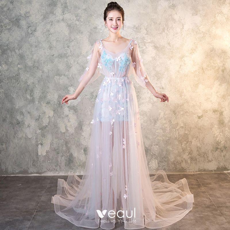 Elegante Himmelblau Durchbohrt Abendkleider 2017 A Linie V