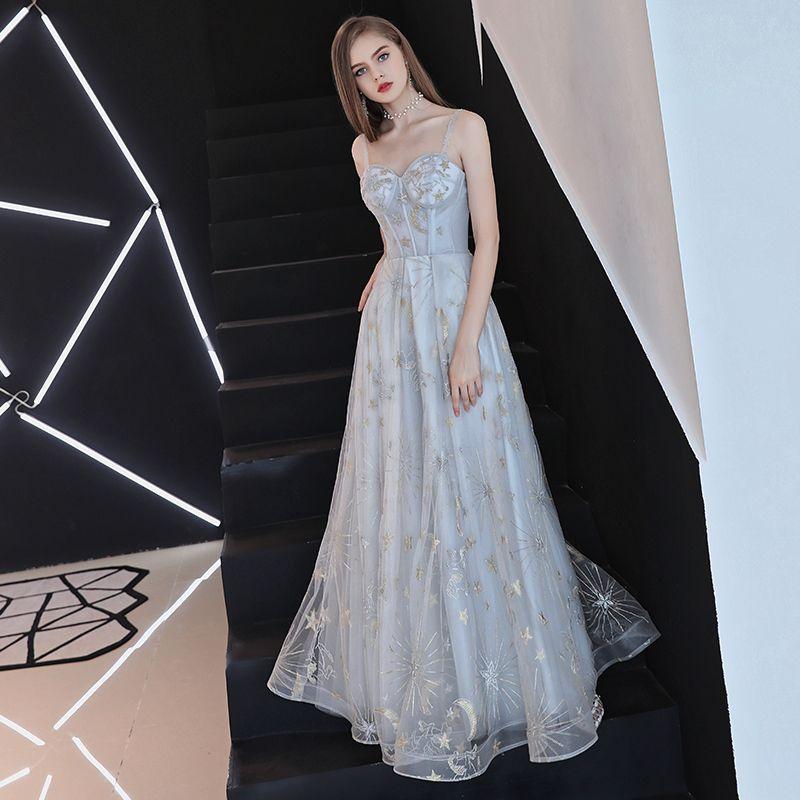 Élégant Gris Robe De Soirée 2018 Princesse Dessin animé Bretelles Spaghetti Dos Nu Sans Manches Longue Robe De Ceremonie