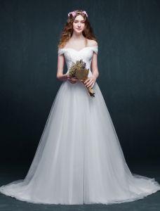 2015 Einfache A-linie Weg Von Der Schulter-organza-hochzeitskleid Brautkleider