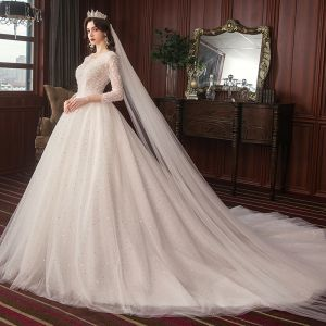 Classy Ivory Wedding Dresses 2020 A-Line / Princess Lace Beading Star Sequins Pearl V-Neck Backless 3/4 Sleeve Cathedral Train