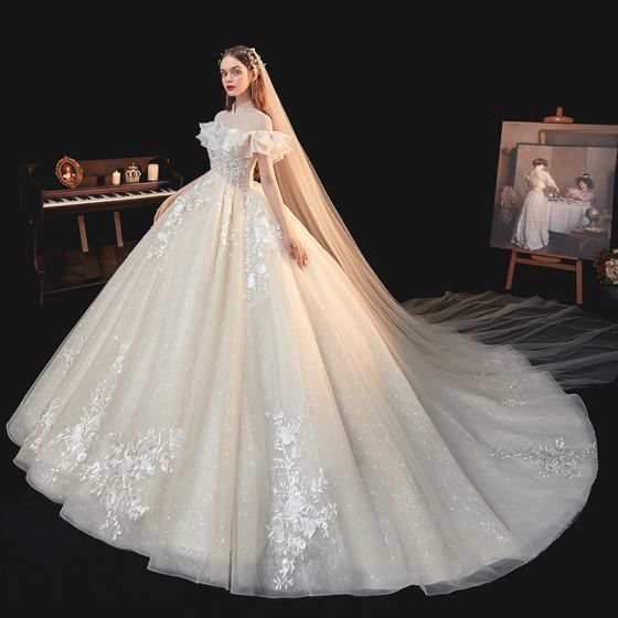 Illusion Champagne Lace Flower Sequins Wedding Dresses 2021 Ball Gown High Neck Ruffle Short Sleeve Backless Cathedral Train Wedding