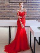 Robes De Soirée Glamour 2016 Sirène Encolure Dentelle Robe Backless Appliques En Soirée Avec Le Train De Balayage
