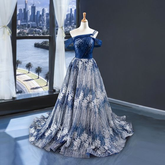 Haut de Gamme Bleu Roi Argenté Robe De Soirée 2020 Princesse Une épaule Manches Courtes Glitter Tulle Train De Balayage Volants Dos Nu Robe De Ceremonie