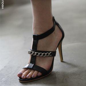 Schlicht Schwarz Leder Freizeit Sandalen Damen 2019 T-Riemen 8 cm Stilettos Peeptoes Sandaletten