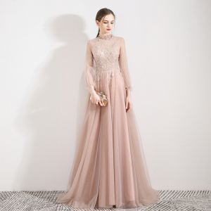 Elegant Pearl Pink See-through Evening Dresses  2019 A-Line / Princess High Neck Puffy 3/4 Sleeve Appliques Lace Beading Sweep Train Backless Formal Dresses