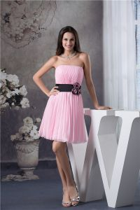 Cute Strapless Pleated Pink Party Dress Black Sash With Handmade Flowers Simple Cocktail Dress
