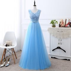 Affordable Sky Blue Bridesmaid Dresses 2019 A-Line / Princess U-Neck Sleeveless Bow Sash Appliques Lace Beading Pearl Floor-Length / Long Ruffle Backless Wedding Party Dresses