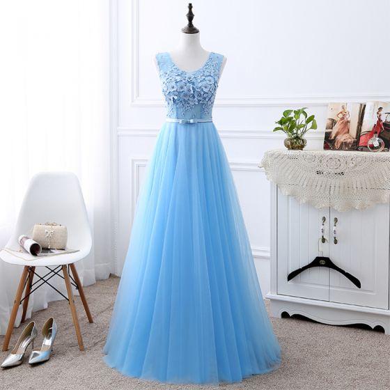 Affordable Sky Blue Bridesmaid Dresses 2019 A-Line / Princess U-Neck Sleeveless Bow Sash Appliques Lace Beading Pearl Floor-Length / Long Ruffle Backless Wedding Party Dresses