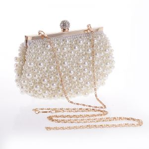 Chic / Beautiful Ivory Pearl Wedding Clutch Bags 2020
