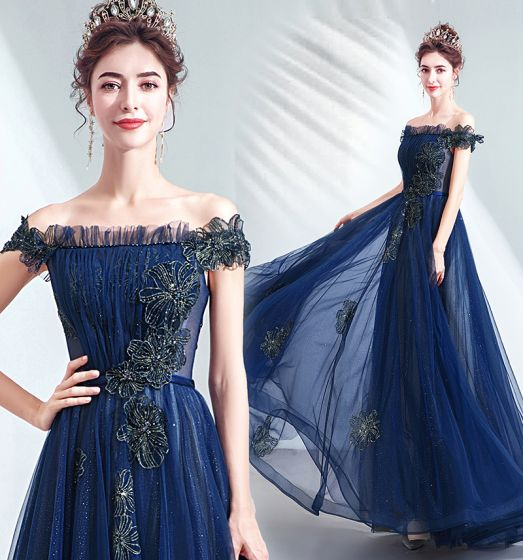 Vintage / Retro Navy Blue Prom Dresses 2020 A-Line / Princess Ruffle Off-The-Shoulder Crystal Glitter Tulle Short Sleeve Backless Floor-Length / Long Formal Dresses