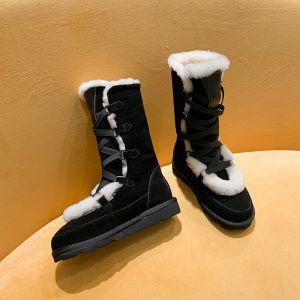 Clásico Dos colores Negro Botas De Nieve 2020 Suede X-Correa Invierno De lana Cuero Mitad De La Pantorrilla Casual Exterior / Jardín Punta Redonda Botas de mujer