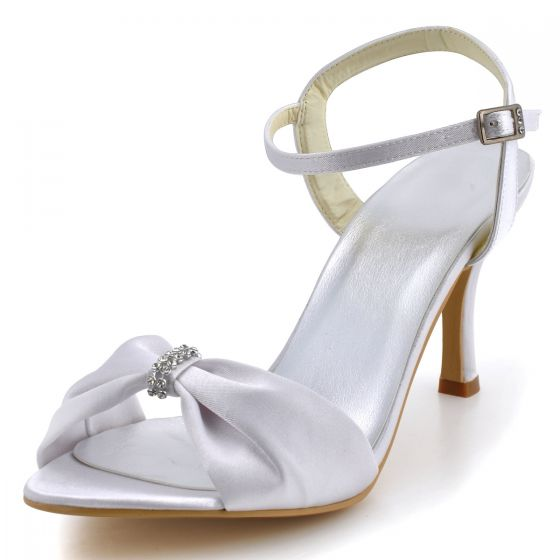 Simple And Stylish High Heeled Shoes End Satin Wedding