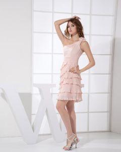 Pente Decollete Plisse Fleur Cuisse Longueur Mousseline De Soie Femme Une Ligne Petite Robe De Fete