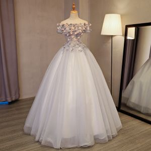 Chic / Beautiful Silver Prom Dresses 2017 Ball Gown Off-The-Shoulder Short Sleeve Appliques Flower Beading Rhinestone Floor-Length / Long Backless Formal Dresses