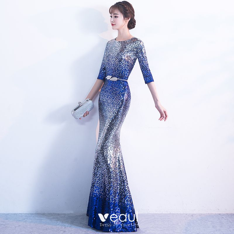 Sparkly Silver Royal Blue Sequins Evening Dresses 2017