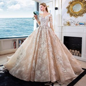 Luxury / Gorgeous Champagne Handmade  Beading Wedding Dresses 2019 A-Line / Princess Scoop Neck Appliques Lace Crystal 3/4 Sleeve Backless Royal Train