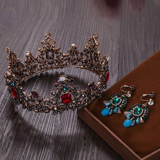 Vintage Barok Bronze Tiara Øreringe Brudesmykker 2020 Legering Rhinestone Bryllup Accessories