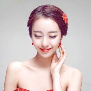 Mode Luxus Zarten Blütenblätter Brautoberteile / Kopf Blume / Haarschmuck Braut / Hochzeitsschmucksachen / Ohrzweiteilige