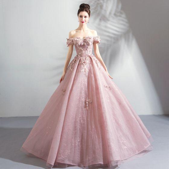 Najpiękniejsze / Ekskluzywne Rumieniąc Różowy Długie Sukienki Na Bal 2018 Koronki Tiulowe Aplikacje Bez Pleców Frezowanie Bez Ramiączek Suknia Balowa Sukienki Wizytowe