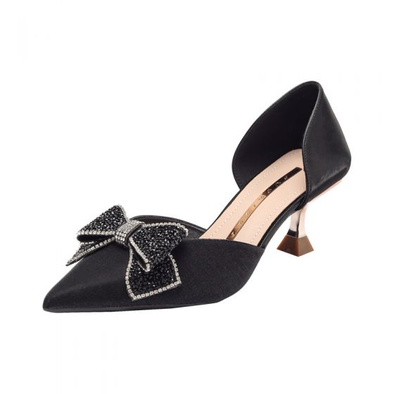 Fashion Black Rhinestone Bow Prom Womens Shoes 2021 6 cm Stiletto Heels Pointed Toe High Heels