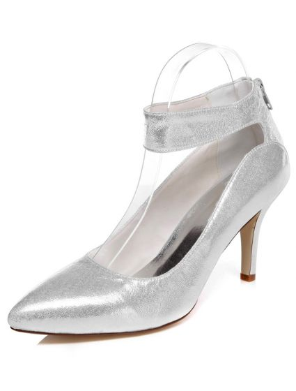 Sparkly Silver Bridal Shoes Stiletto Heels Wedding Shoes Glitter Pumps With Ankle Strap