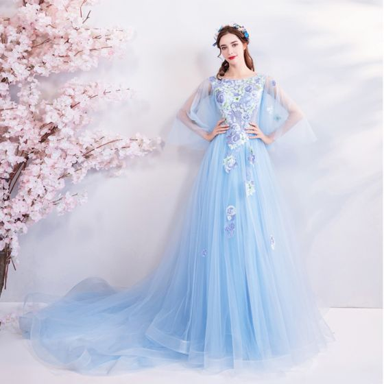 Elegant Sky Blue Evening Dresses  2018 A-Line / Princess Square Neckline 3/4 Sleeve Embroidered Appliques Lace Rhinestone Chapel Train Ruffle Backless Formal Dresses