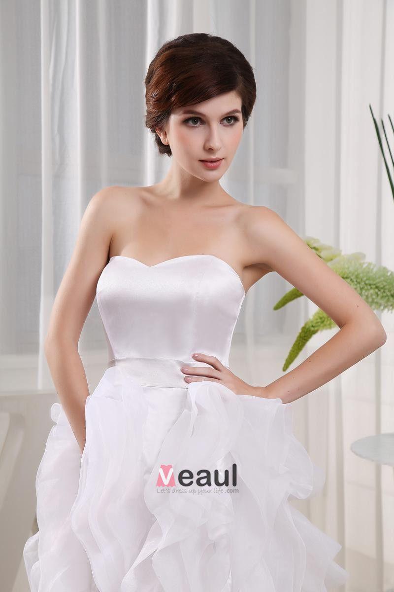 Organza Silk Ruffle Sweetheart Sleeveless Asymmetrical Length Mini Wedding Dress
