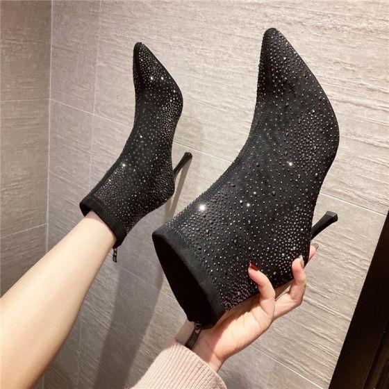 Mode Zwarte Straatkleding Rhinestone Dames Laarzen 2020 8 cm Naaldhakken / Stiletto Spitse Neus Laarzen