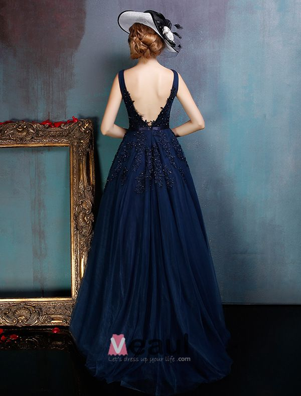 Glamoureuze Backless Donker Blauwe Galajurk Applique Kanten Feestjurk Met Pailletten