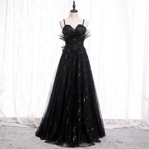 Charming Black Evening Dresses  2020 A-Line / Princess Spaghetti Straps Sequins Rhinestone Lace Flower Sleeveless Backless Floor-Length / Long Formal Dresses