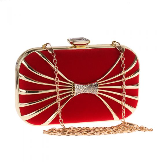Chic / Beautiful Red Suede Rhinestone Metal Bow Clutch Bags 2018