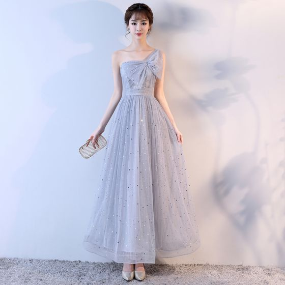 Lovely Silver Homecoming Graduation Dresses 2017 A-Line / Princess Bow Star One-Shoulder Backless Sleeveless Ankle Length Formal Dresses