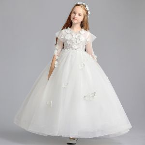 Romantic Ivory Flower Girl Dresses 2019 A-Line / Princess Scoop Neck 3/4 Sleeve Butterfly Appliques Lace Pearl Floor-Length / Long Ruffle Wedding Party Dresses