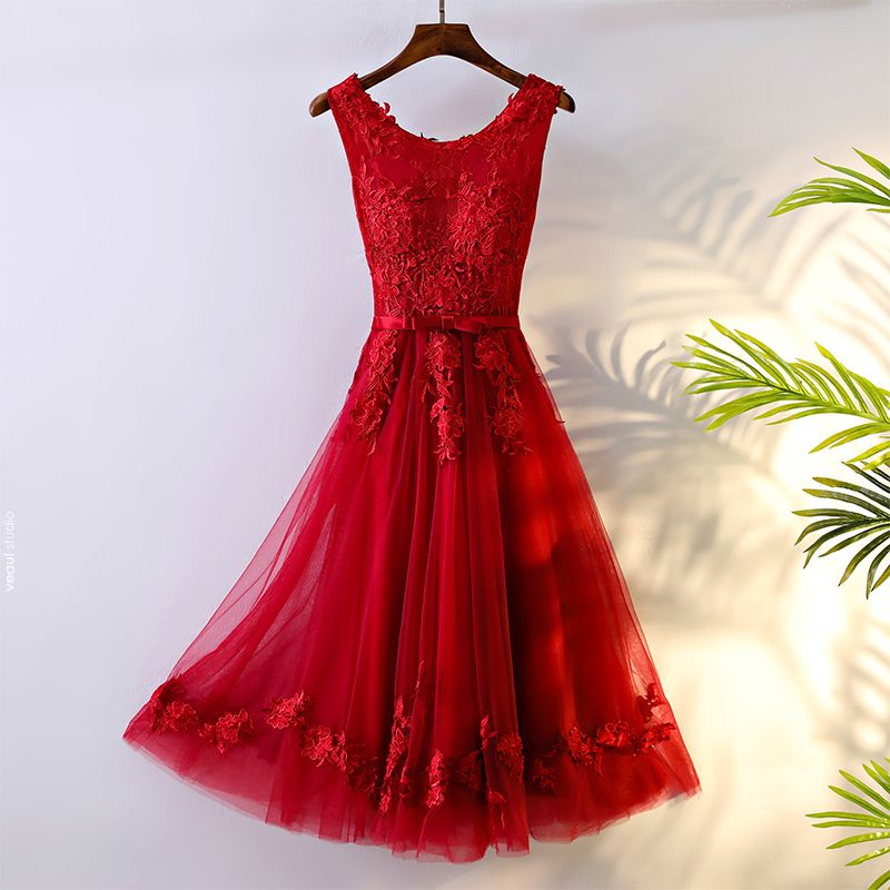 Chic / Beautiful Red Formal Dresses Evening Dresses  2017 Lace Flower Bow Artificial Flowers Zipper Up Scoop Neck Sleeveless Tea-length A-Line / Princess