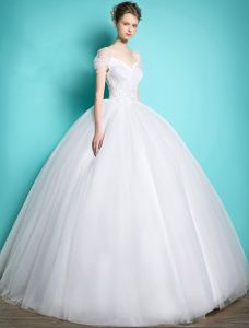 Prinses Trouwjurken 2016 Baljurk V-hals Cap Mouwen Ruches Tule Ruglooze Bruidsjurk