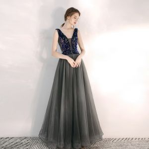 Charming Grey Evening Dresses  2020 A-Line / Princess See-through Deep V-Neck Sleeveless Beading Floor-Length / Long Ruffle Backless Formal Dresses