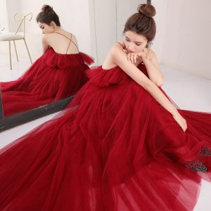 Sexy Burgundy Evening Dresses  2018 Empire Spaghetti Straps Sleeveless Sash Floor-Length / Long Ruffle Backless Formal Dresses
