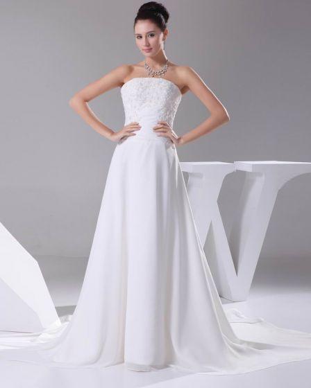 Elegant Chiffon Satin Lacework Beading Strapless Floor Length Women Wedding Dress