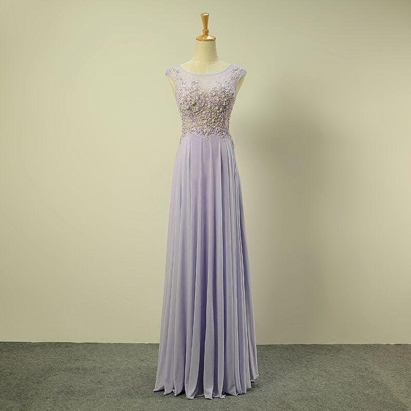 Schöne Königliches Blau Abendkleider 2017 A Linie Rundhalsausschnitt Ärmellos Perlenstickerei Perle Rüschen Chiffon Lange Festliche Kleider