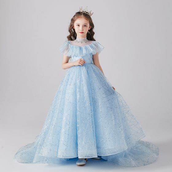 Vintage / Retro Sky Blue Birthday Flower Girl Dresses 2020 Princess See-through High Neck Long Sleeve Sequins Beading Sweep Train Ruffle