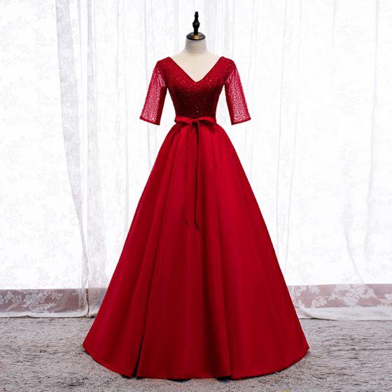 Elegant Red Prom Dresses 2020 A-Line / Princess V-Neck Bow Beading Sequins 1/2 Sleeves Backless Floor-Length / Long Formal Dresses