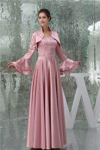 Elegant Empire Strapless Beading Satin Long Mother Of The Bride Dresses With Shawl