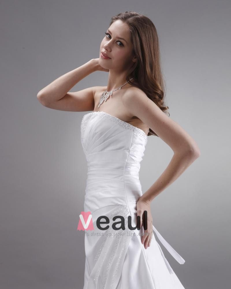 Strapless Beaded Ruffle Satin Court A-Line Bridal Gown Wedding Dress
