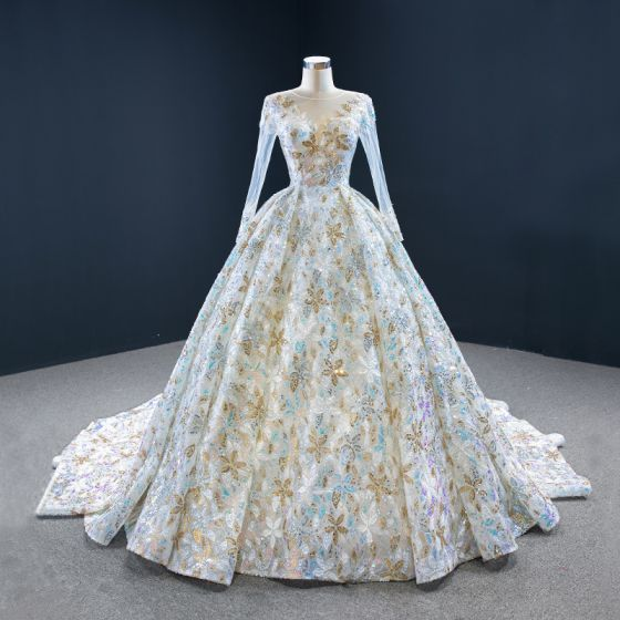 Amazing / Unique Multi-Colors Bridal Wedding Dresses 2020 Ball Gown See-through Scoop Neck Long Sleeve Beading Sequins Chapel Train Ruffle