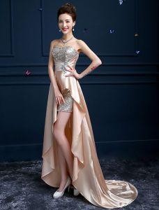 Reizvolles Hoch-niedriges Cocktailkleid Süße Sequins Kleid Mit Kristall