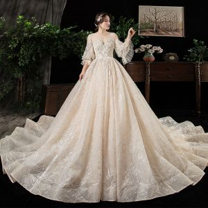 Chic / Beautiful Champagne See-through Plus Size Wedding Dresses 2020 Scoop Neck Puffy 3/4 Sleeve Backless Appliques Lace Beading Cathedral Train Ruffle