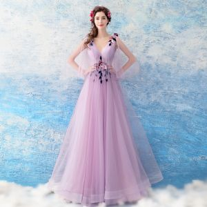 Chic / Beautiful Lilac Evening Dresses  2018 A-Line / Princess Floor-Length / Long Tulle V-Neck Appliques Backless Evening Party Formal Dresses